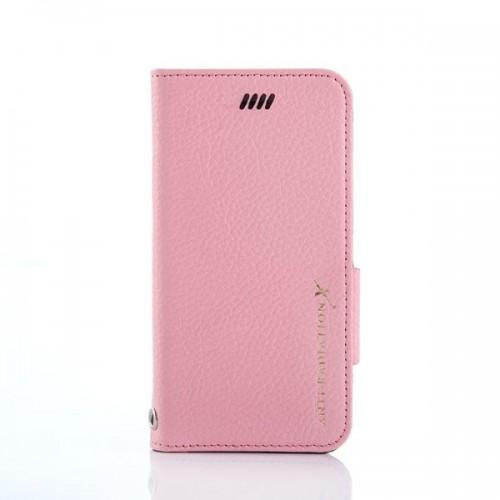 X-SHELL防電磁波真皮手機皮套(IPHONE 6 plus/6s plus) 荔枝紋 珍珠粉