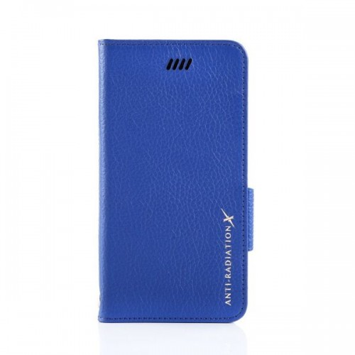 X-SHELL防電磁波真皮手機皮套(IPHONE 6 plus/6s plus) 荔枝紋  寶石藍