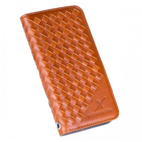Moxie X-Shell iPhone 7 真皮編織紋防電磁波手機套 / 復古駝
