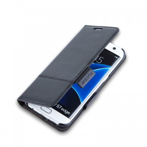 X-SHELL S7  edge 防電磁波真皮手機皮套 (旗艦黑)