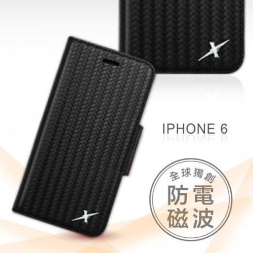 X-SHELL 戀上IPHONE 6/6s精緻編織紋真皮皮套 (尊爵黑)